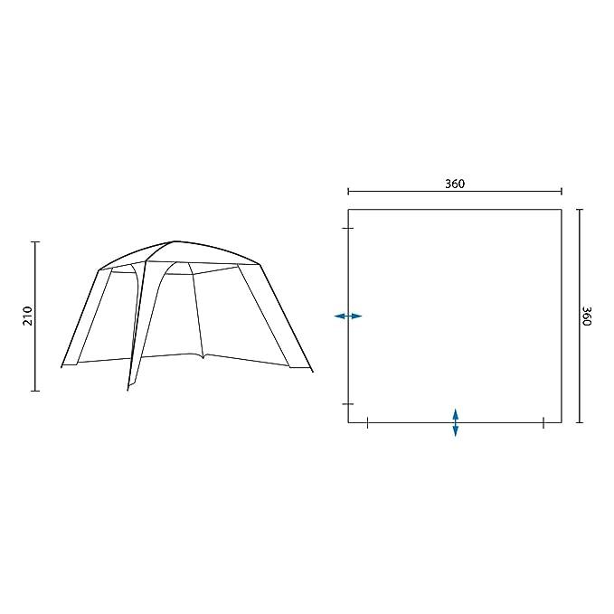 360x360x210 cm Skandika Pavillon XL Tonnelle Abri Tente de Jardin Vert