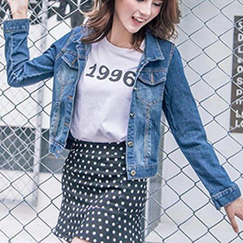 Retro Cappotto Fit Lunga Manica Di Scuro Jeans Eleganti Slim Donna Giacchino Boyfriend Blu Giubbotto X41IwxwZ