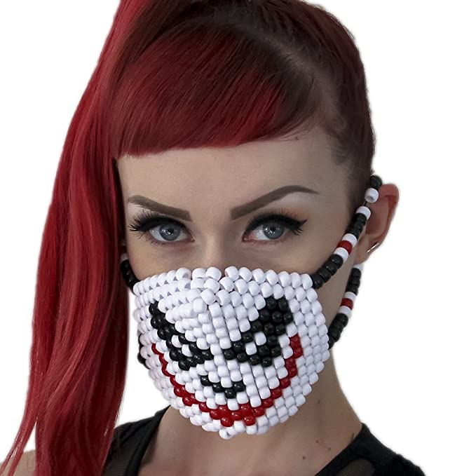 Kandi Gear Mascara Kandi de El Joker de Batman, mascara rave, mascara de halloween