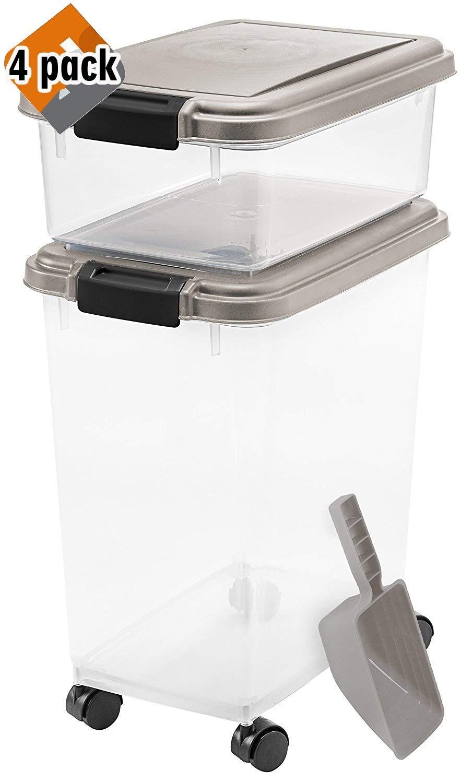 IRIS 3-Piece Airtight Pet Food Container Combo, Pack 4