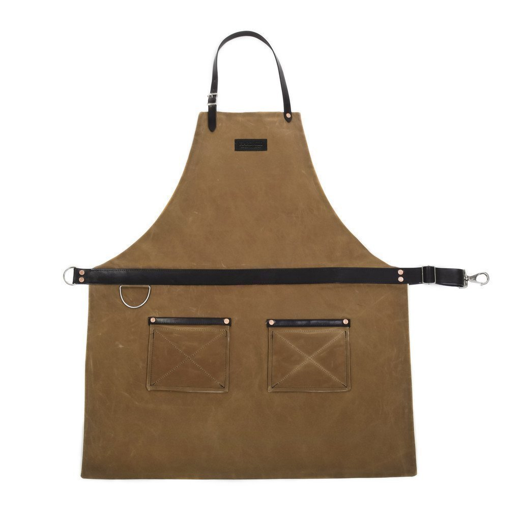 Rugged Apron - Waxed Canvas - Field Tan - Made in USA by Hardmill