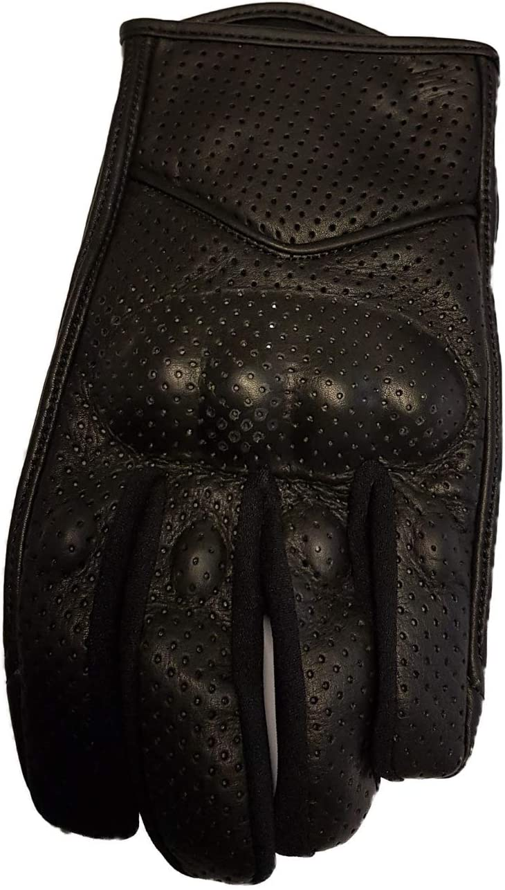 Bikers Gear Australia Limited - Guantes cortos de verano perforados para motocicleta, color negro, talla S