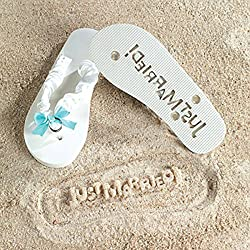 JUST MARRIED Imprint Flip Flops 7/8 Bridal Shower Gift Beach Wedding Bride White Fun