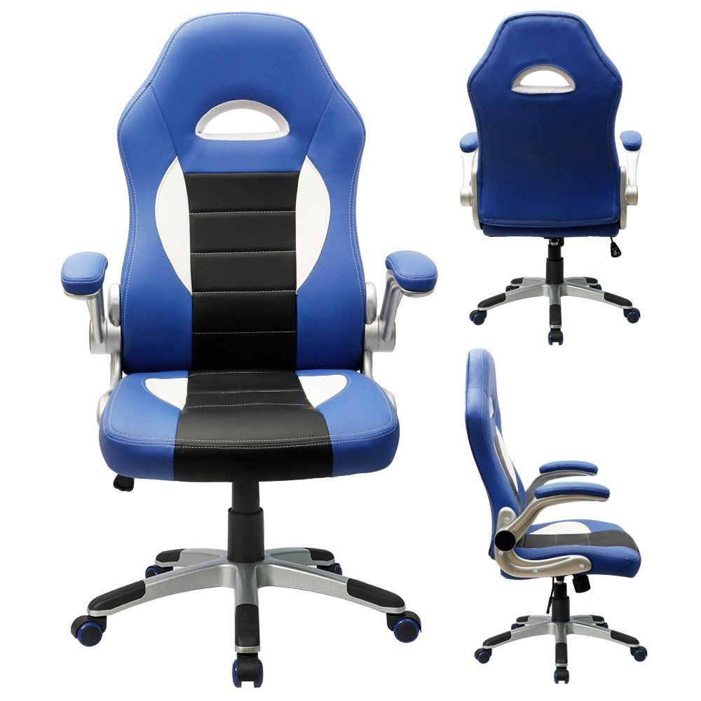 Good Amazon Furmax Gaming Chair Executive Racing Style Bucket Seat PU Leather Office Chair Computer Swivel Lumbar Support Chair Blue Kitchen u Dining