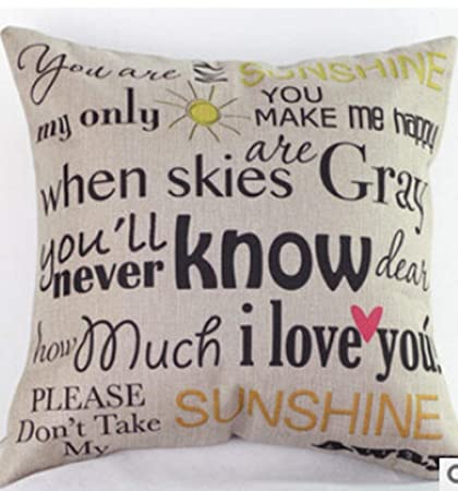 Amazon Cotton Linen You Are My Sunshine Decorative Pillowcase Custom You Are My Sunshine Decorative Pillow