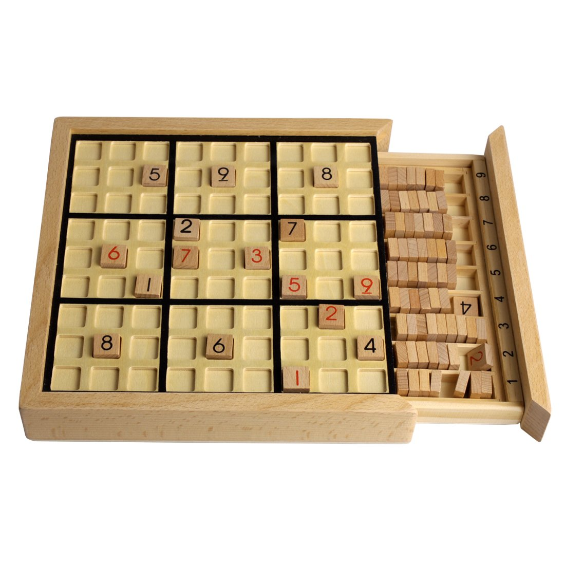 Andux Land Wooden Sudoku Puzzle Board Game with Drawer SD-02 (Black) by Andux