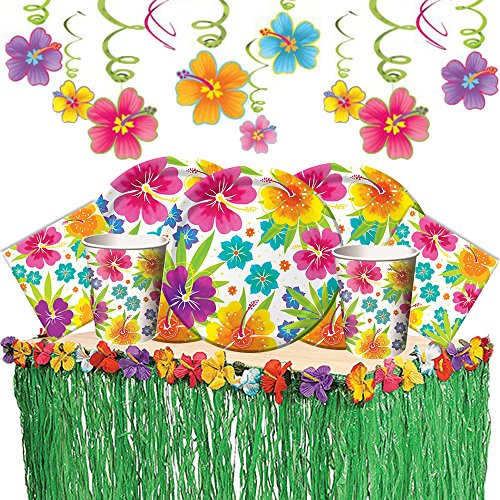 - Tropical Luau Hawaiian Summer Party Supply Pack with Decorations for 50 Includes Plates, Napkins, Cups, Table Skirt, and Hibiscus Hanging Swirls