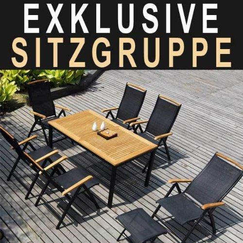Amazon.de: 10-teilige Aluminium und Teakholz Gartengarnitur ELORO