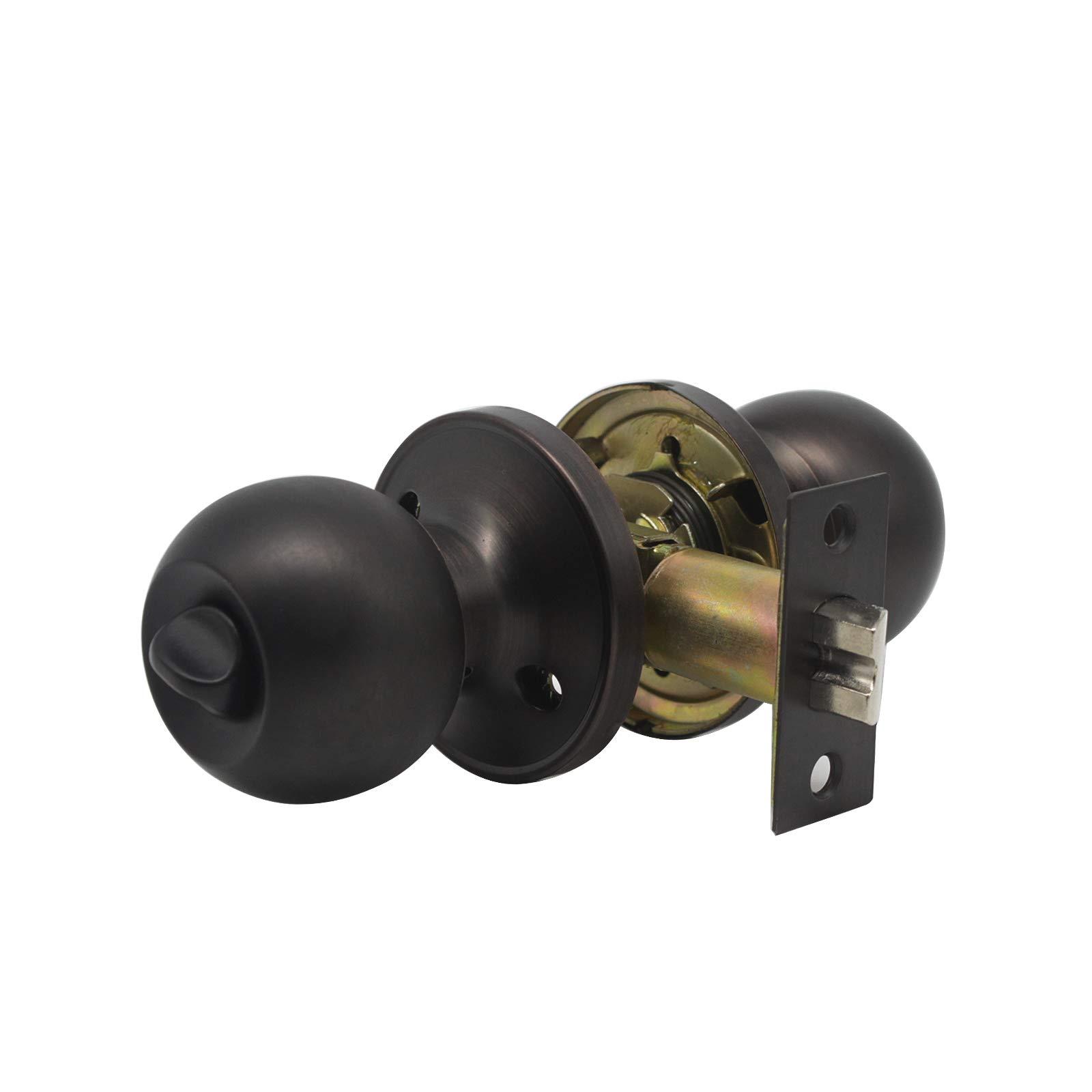 8 Pack Probrico Interior Round Privacy Keyless Door Knobs Door Lock Lockset Without Key Doorknobs Oil Rubbed Bronze for Bedroom and Bathroom-Door Knob 607 by Probrico (Image #4)