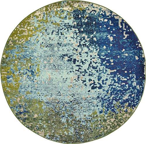 Unique Loom Estrella Collection Colorful Abstract Blue Round Rug (6' 0 x 6' 0)