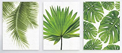 Chezmax Wall Art Oil Painting On Canvas Print Artwork Pictures For Home Decor Green Tropical Plants Palm Leaves 19 7 X 23 6 Without Frame