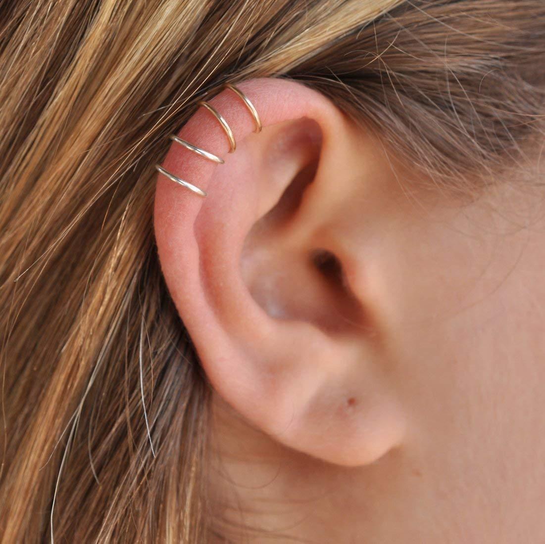 Set Of 2 Ear Cuffs Ear Cuff Double Ear Cuff Clip Cuff Non Piercing Cartilage Ear Cuff Simple Ear Cuff Fake Cartilage Earring 20 Gauge Gold