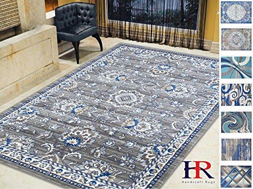 10' Dark Splash - Handcraft Rugs-Navy/Khaki/Blue/Gray-Faded, Oriental Distressed Area Rug Vintage Persian Area Rug Abstract,Floral Persian Rug(8 x 10 feet)