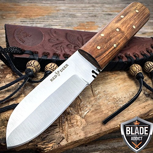 """Only US 7"""" Mountain Man Western Style Fixed Blade Trade Patch Knife + Leather Sheath"""