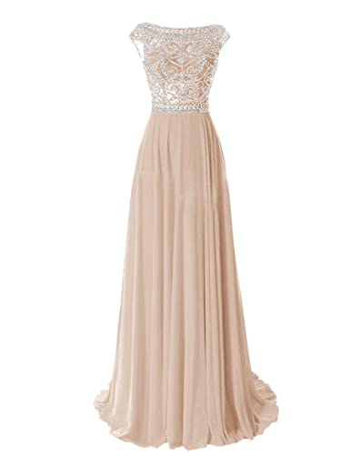 R&J Women's Backless V Neck Lace Flower Beaded Belt Bride Prom Dress