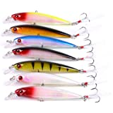Aorace 7pcs/lot Minnow Fishing Lures Hard Plastic Swimbait Bait Fishing Tackle Hooks With Feather Abdominal Glow Lure Bait Set for Bass 11cm 13g