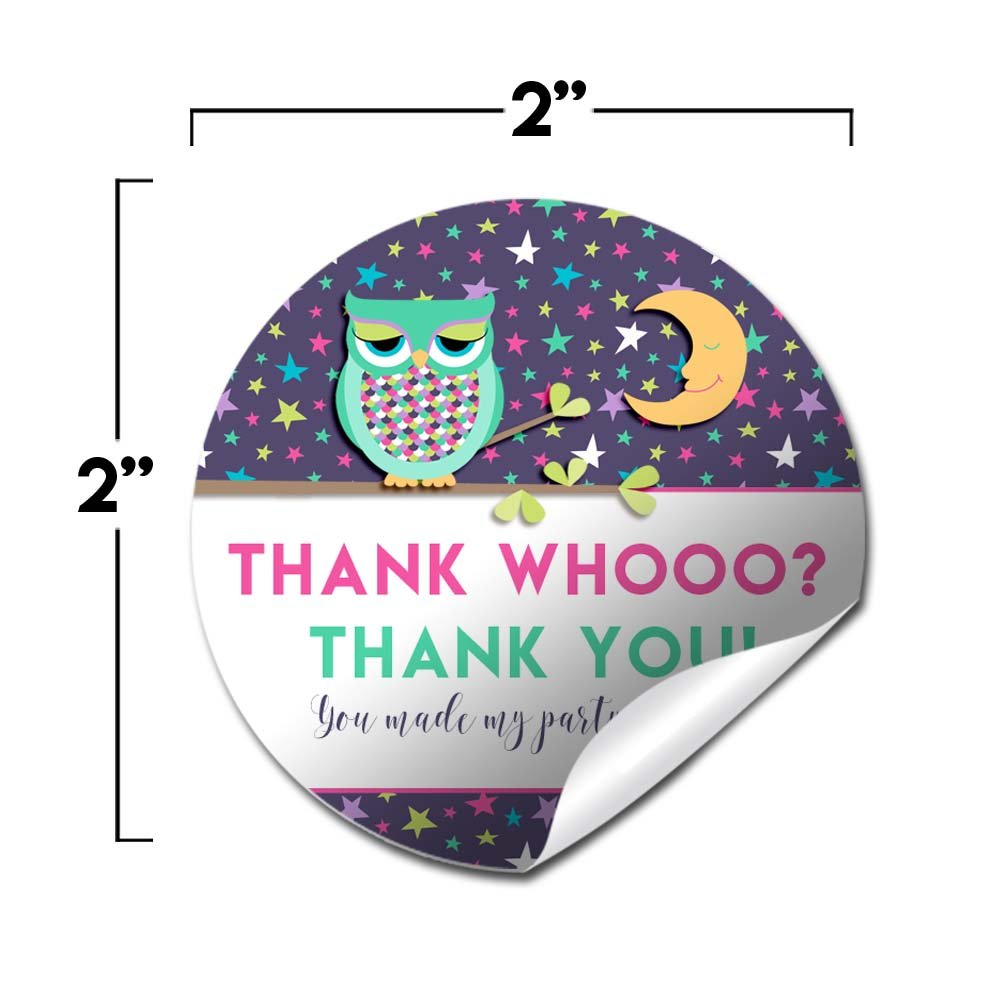 20 2 Party Circle Stickers by AmandaCreation Envelope Seals /& Goodie Bags Great for Party Favors Night Owl Sleepover Birthday Party Thank You Sticker Labels