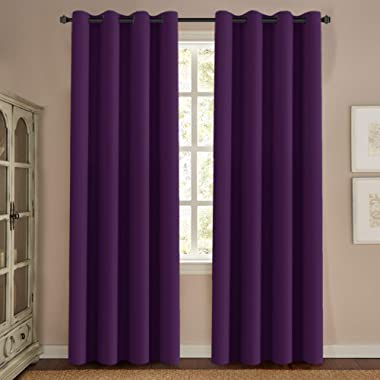 H.VERSAILTEX Thermal Insulated Blackout Window Curtains for Bedroom/Living Room Ultra Soft and Smooth Innovated Microfiber Grommet Curtains 84 Inch Length - Solid in Plum Purple (One Panel)