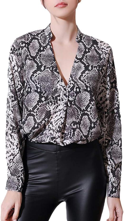 qiansu Camisa Holgada Estampado Piel Serpiente Mujer Camisa Manga Larga con Cuello en V Sexy Camisa Casual Camisa Suelta Camisa Elegante: Amazon.es: Ropa y accesorios