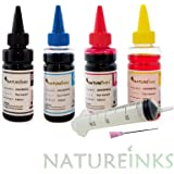 4 x 100ml Natureinks Universal dye Refill Printer Ink Bottles kit includes Black , Cyan, Magenta and Yellow Refillable or CISS system ( 400 ml ) + 4 x 30ml syringes with FREE extender nozzle