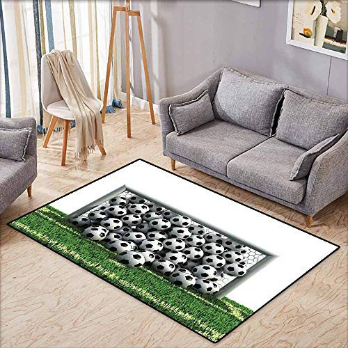 """Price comparison product image Kids Rug, Sports Decor Goal Net Full of Soccer Balls on The Football Field Schoolyard Victory, Children Crawling Bedroom Rug, 3'11""""x5'10"""""""