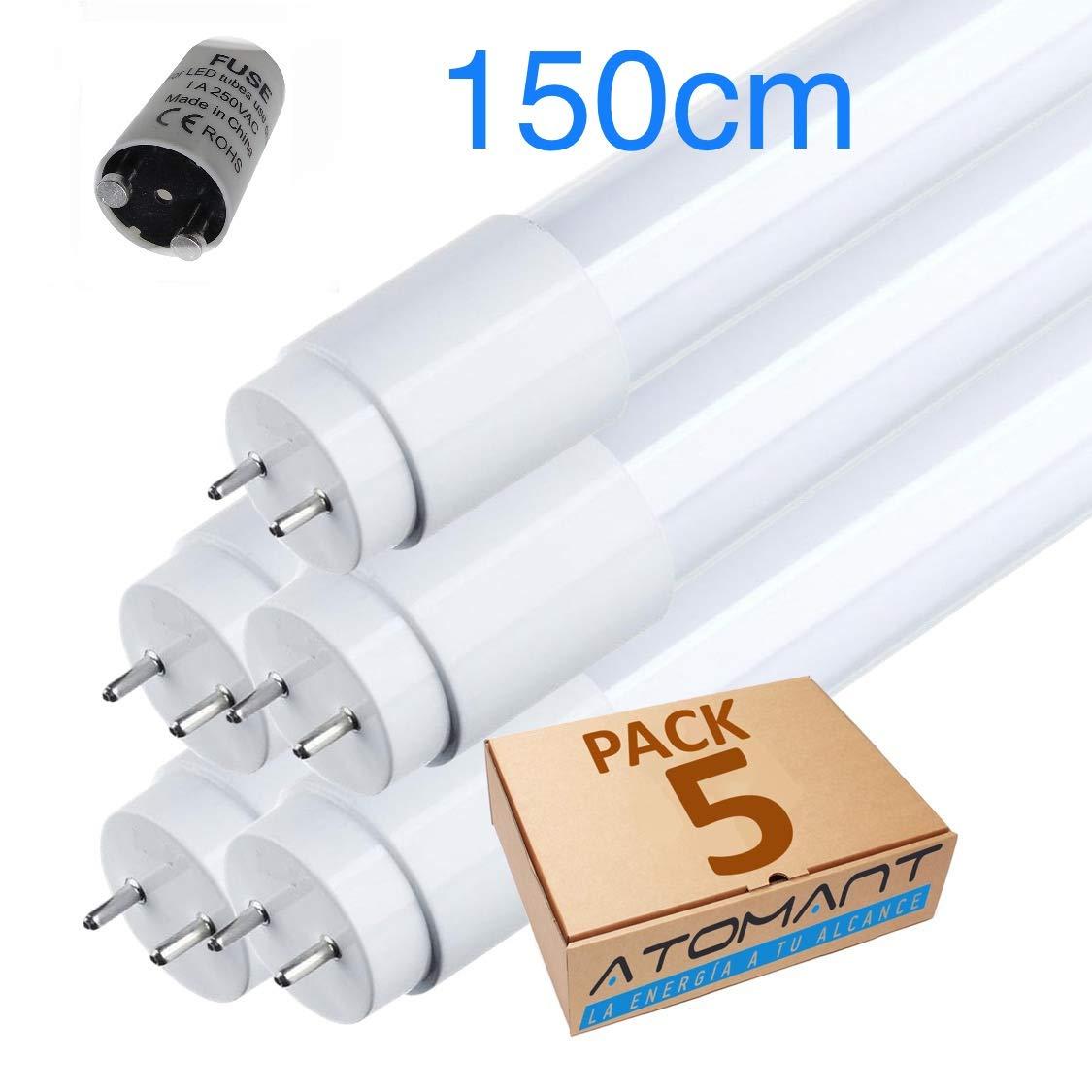 Pack 4x Tubo de LED 150cm 6500K 24w Pack 4x Standard T8 G13-2200 lumenes reales- Cebador LED incluido. color blanco Frio