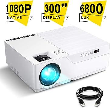 Proyector CiBest Native 1080p, proyector de vídeo LED 5500 Lux ...