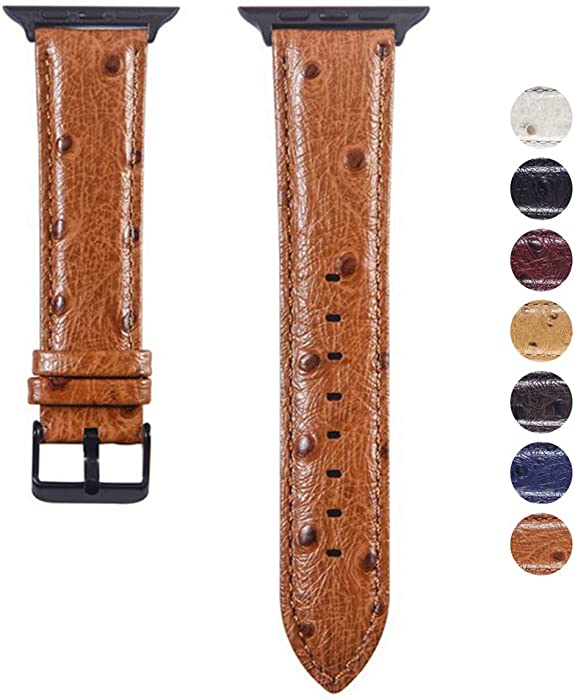 YoChYi Watch Strap, Stereoscopic Spot Ostrich Skin Genuine Leather Replacement Band 38mm 40mm 42mm 44mm Compatible with Apple Watch Series 4 3 2 1 (Brown, 42mm)