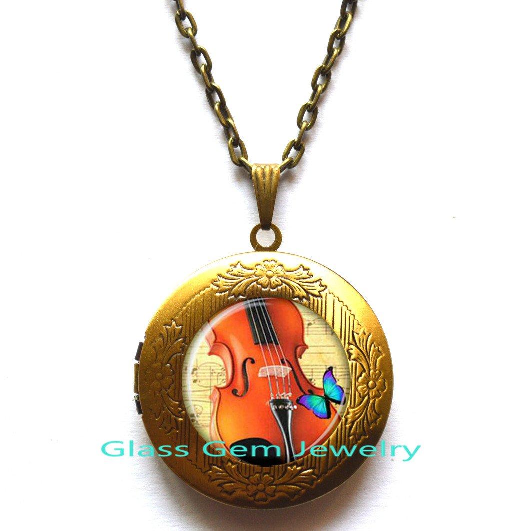 Violin/Locket Pendant/Violin/Locket Necklace/Violin/jewelry/for/musician/music/Locket Pendant/glass/Cabochon/Locket Necklace.XY44