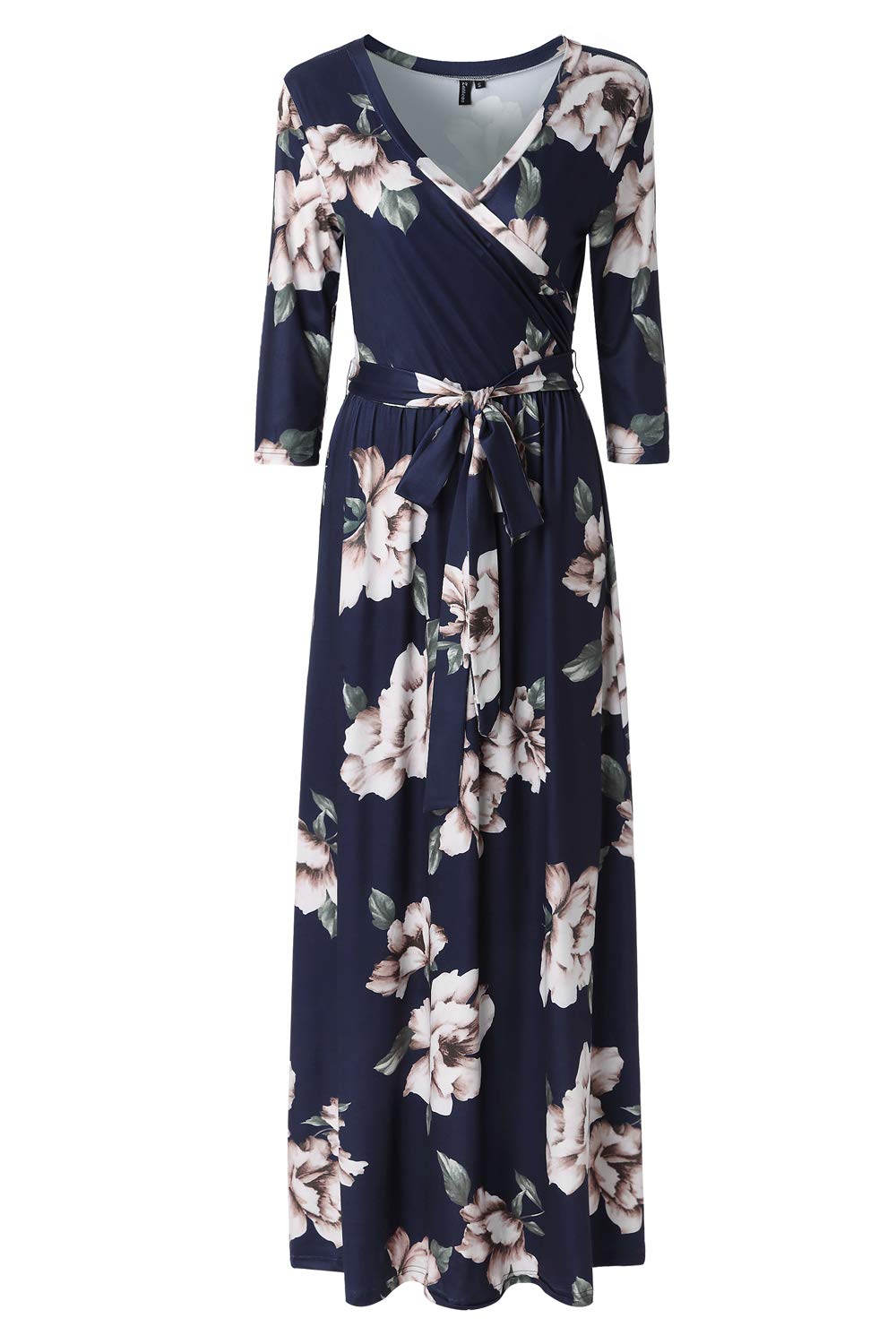 Zattcas Womens 3/4 Sleeve Floral Print Faux Wrap Long Maxi Dress with Belt (Large, Navy Printed)