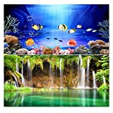 """9081 23.3"""" x 60"""" Double Sided Fish Tank Aquarium Background Colorful Fish / Waterfal"""