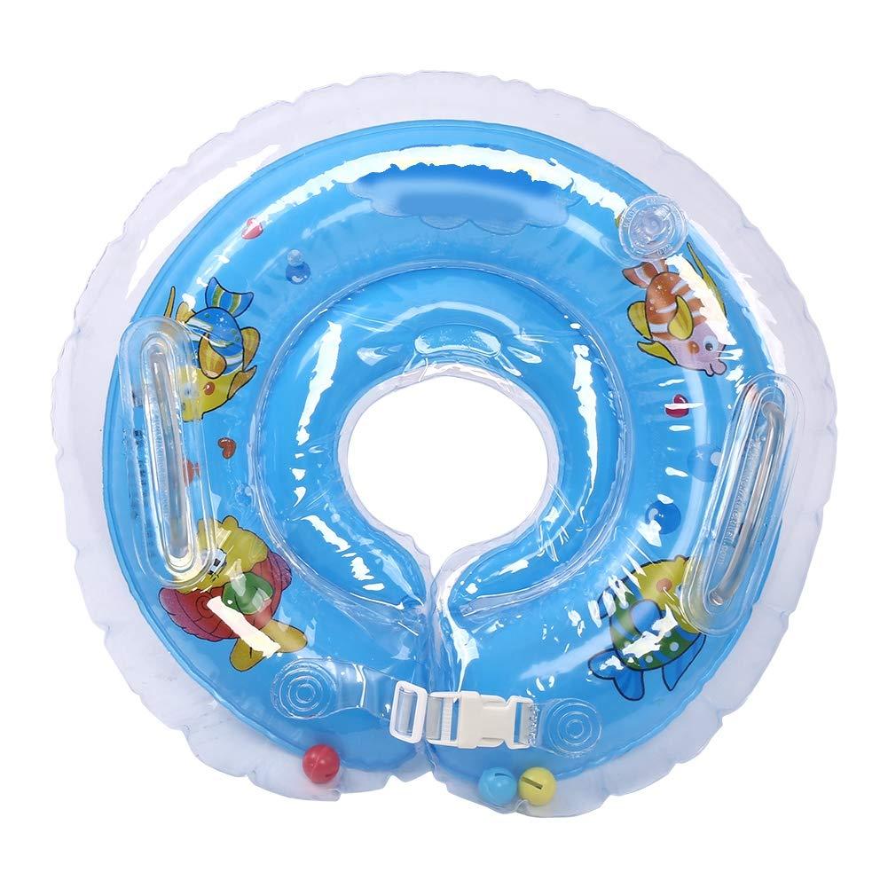 Garosa Bebé Natación Cuello Anillo Inflable Nadar Flotador Anti-Giro Precioso Baño Protección Círculo De Seguridad(Azul)