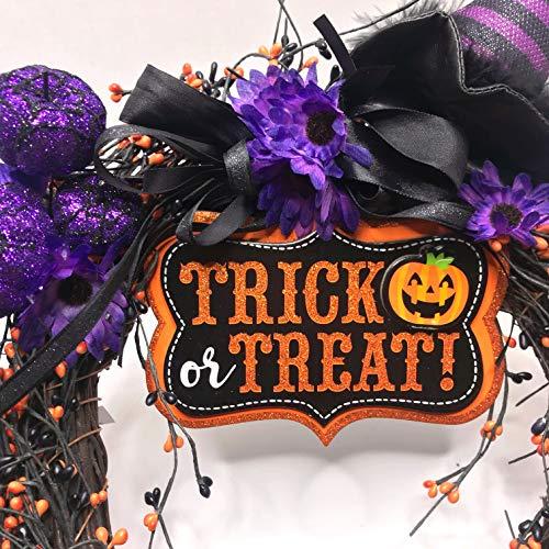 (Trick or Treat Halloween Wreath-Purple Pumpkins Flowers-Witches Hat-Heavy Duty)