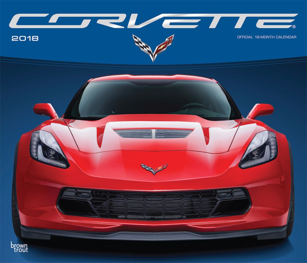 Corvette 2018 14 x 12 Inch Monthly Deluxe Wall Calendar with Foil Stamped Cover, Chevrolet Motor Muscle Car (Multilingual Edition) by BrownTrout Publishers