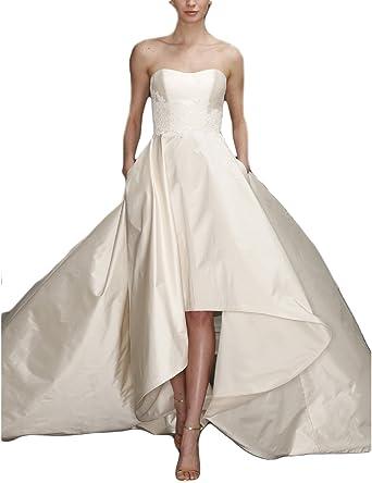 YSMei Women\'s Long Boateau Wedding Dress with Pockets Evening Prom ...