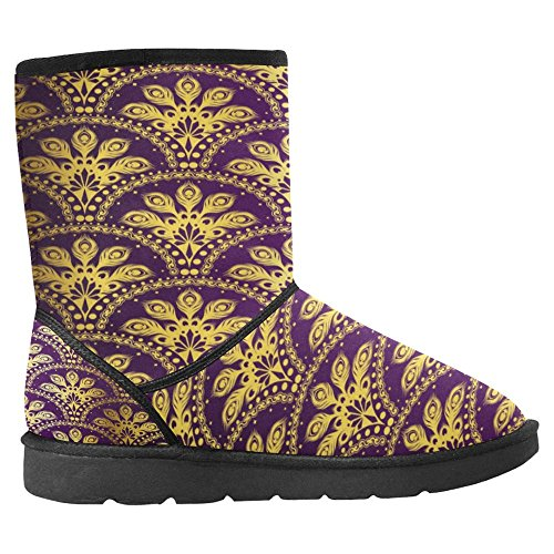InterestPrint Womens Snow Boots Unique Designed Comfort Winter Boots Gold on Purple Peacock Multi 1 ZnU76iyqDX