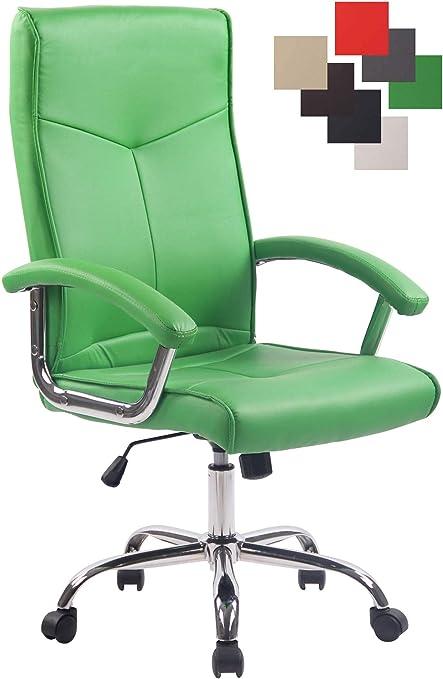CLP Poltrona Ufficio Ergonomica Winston in Similpelle I Sedia da Scrivania con Braccioli E Rotelle Girevole E Regolabile, Colore:Verde