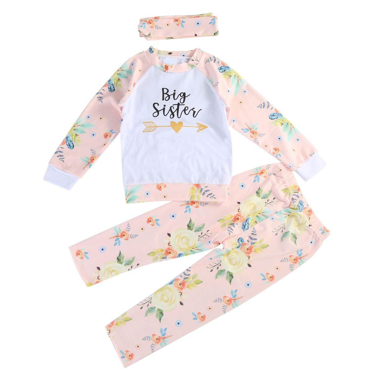 Diadema o Sombrero Conjunto de Ropa puseky Baby Girls Big Little Sister Trajes a Juego Camisa Floral Tops Pantalones