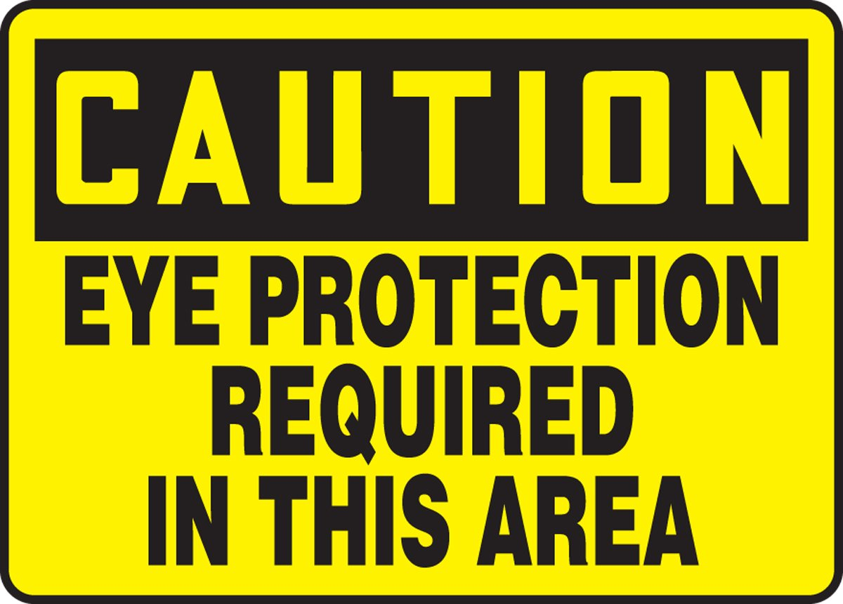 AccuformCaution Eye Protection Required in This Area Safety Sign Aluminum 10 x 14 Inches MPPE626VA