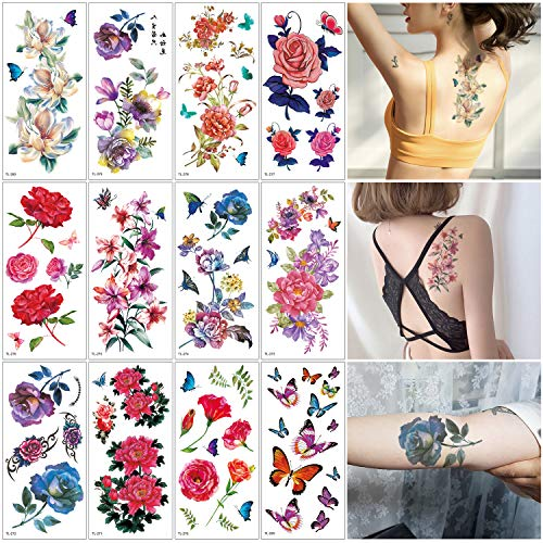 Oottati 12 Sheets Flowers Fake Temporary Tattoos Stickers Kit - 19x9cm Watercolor Painting Butterfly Red Blue Purple Rose Bouquet For Women -