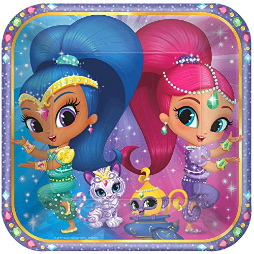 Ultimate Shimmer&Shine Party!!!Birthday Party Decoration Supply Bundle Pack with 16lg&16sm Plates 16-9oz Cups, Matching Table Cover&Jumbo Banner,50 Napkins(Bonus Matching Party Straw Pack)