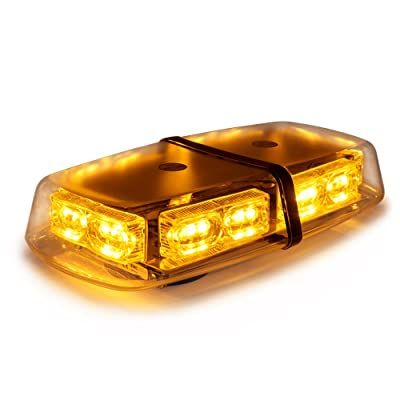 Xprite Yellow Amber 36 LED 18W Mini Bar Strobe Beacon Lights with Magnetic Base, for Law Enforcement Emergency Hazard Warning Trucks: Automotive