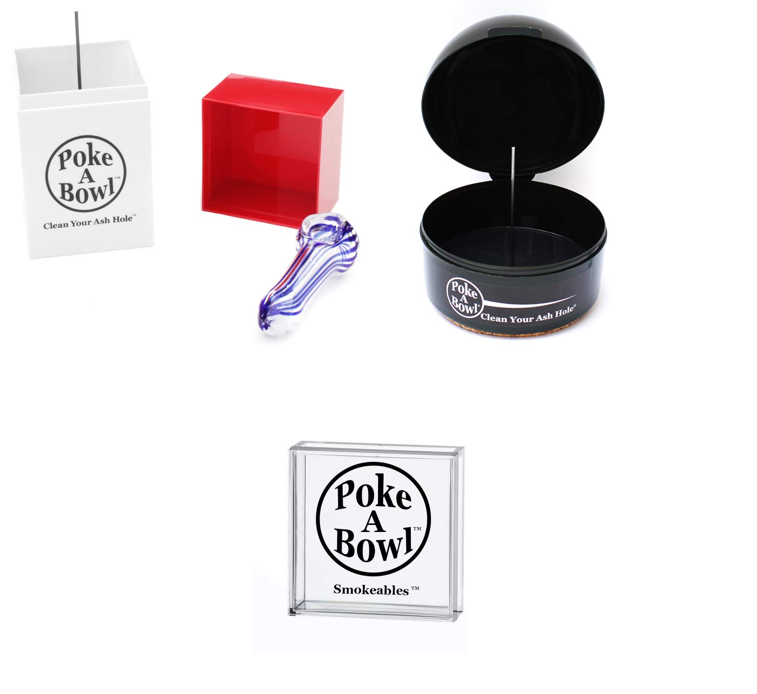 Poke A Bowl Ashtray - Clean Your Ash Hole; The Only Odor Proof, Heat Resistant, Pet-Friendly, Ash & Resin Removing Dynamic Duo Gift Set Ashtray with A Lid (Snow White) DPM Inc. PABDDGSW