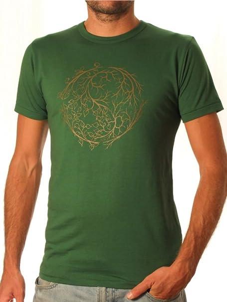 Life-Tree Ropa Justa bambú Camiseta Hombre Yinyang de bambú y algodón ecológico