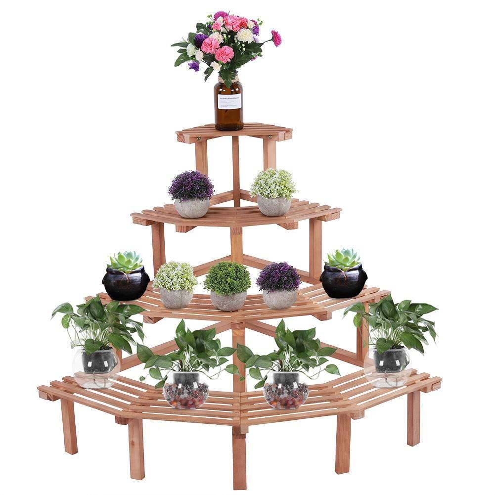Bianca 4 Livelli Design angolare in Legno di Pino Angolo per Fiori Supporto per Piante Scaffale per Esposizione Decorazione del Giardino Durevole per la Tua casa Lecxin Supporto per Piante
