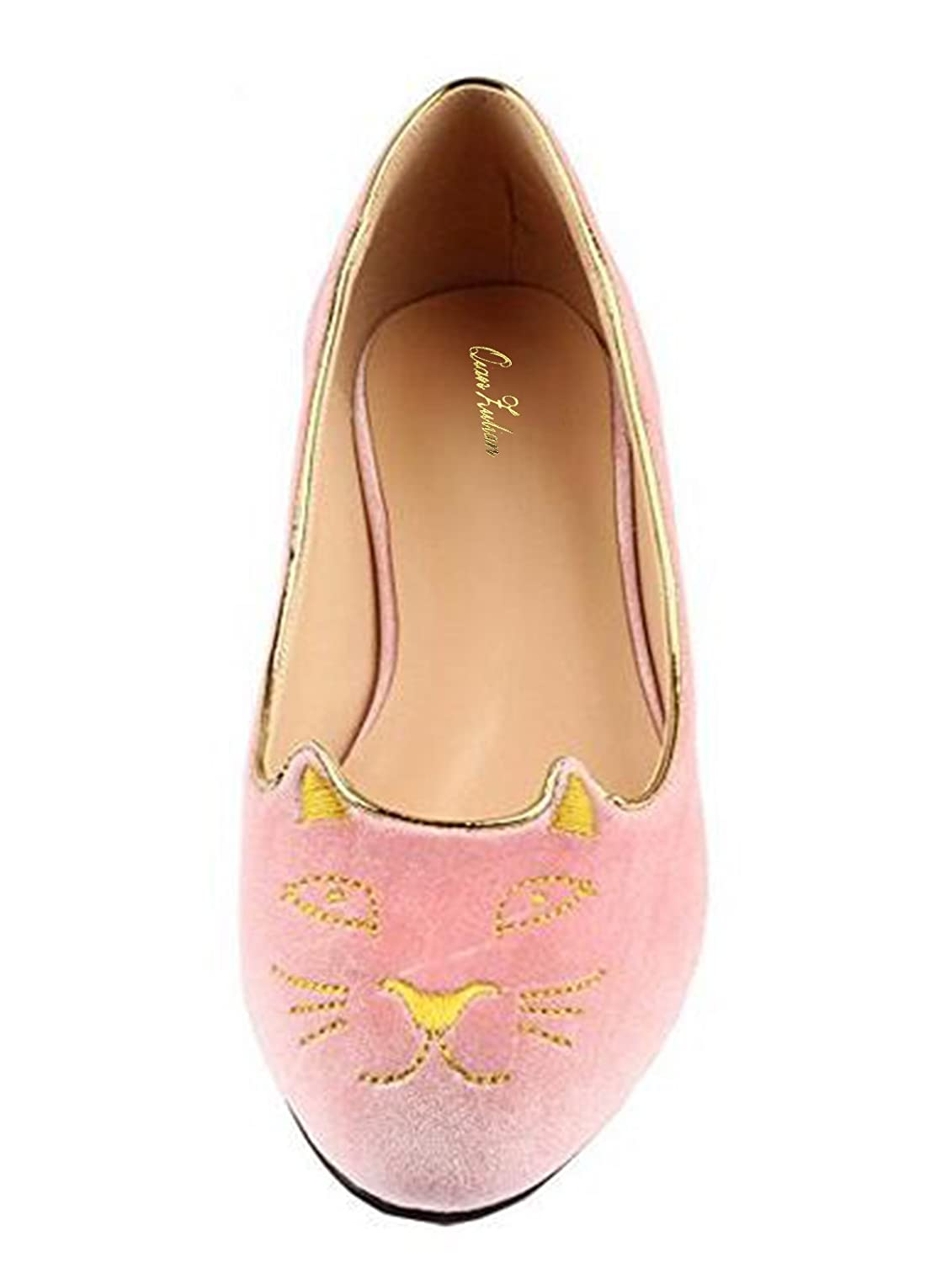 QianZuLian Womens Flats Cat Shape Pumps Round head Slip On Dress Shoes Comfort for Home Leisure On foot B0757WYVGJ 9.5 B(M) US|Pink