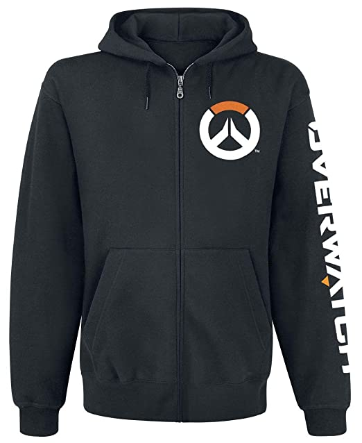 Overwatch Logo Sudadera capucha con cremallera Negro XL