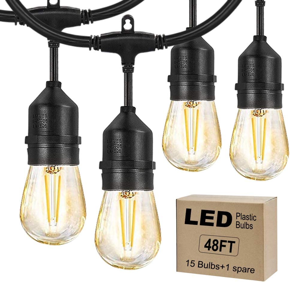 Hixidion LED Outdoor String Lights 48FT with Dimmable 15 Hanging Sockets 2W Edision Vintage Plastic Bulbs Weatherproof Strand for Patio Garden Party Deck Yard-Black