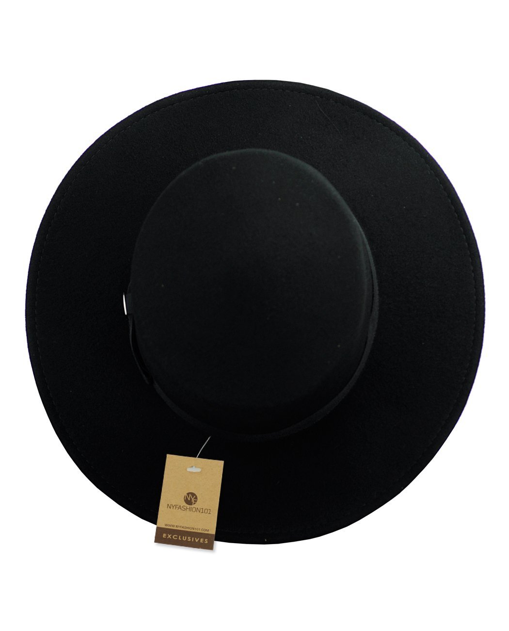 658a212b NYFASHION101 Wool Wide Brim Porkpie Fedora Hat w/Simple Band Accent - Black