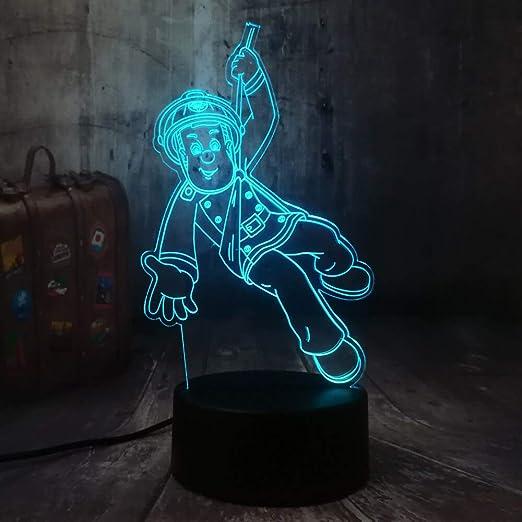 Nuevo Bombero Sam Luz de la noche del bombero 3D LED USB ...